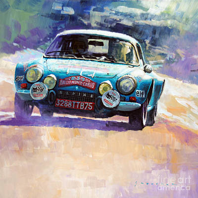 Alpine Painting - Rally Monte Carlo 1972 Alpine-renault A110 1600  by Yuriy Shevchuk