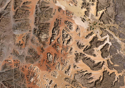 Abstract Map Photograph - Ram Desert Transjordanian Plateau Jordan by Anonymous
