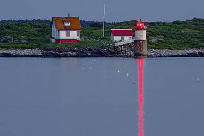 Ram Island Lighthouse At Night Maine  Art Print