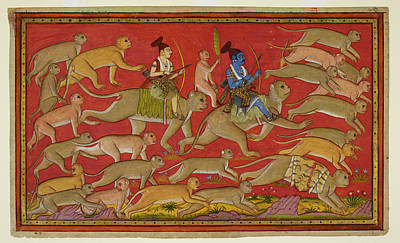 Rama Sets Out With The Monkey Army Art Print