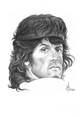 Sylvester Stallone Drawing - Rambo-sylvester-stallone by Murphy Elliott