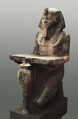 Statue Portrait Photograph - Ramesses II With The Table Of Abydoss by Everett