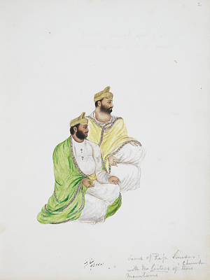 Watercolour Photograph - Ranbir Chand And Pramod Chand by British Library