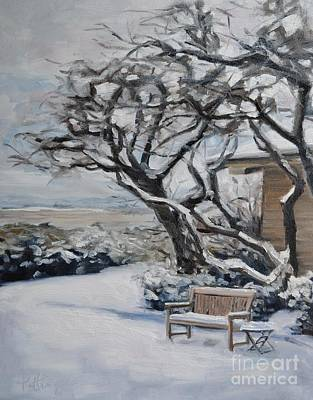 Windblown Painting - Ranch Bench In Winter by Lori Pittenger