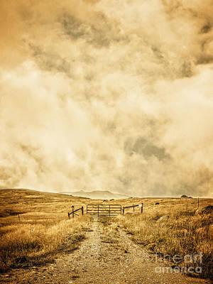 Prairie Storm Photograph - Ranch Gate by Edward Fielding