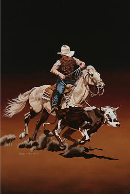 Horse Painting - Ranch Ropin by Hugh Blanding