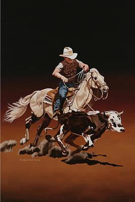 Painting - Ranch Ropin by Hugh Blanding