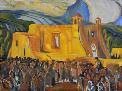 Painting - Ranchos Iglesia After E. Blumenschein by David  Llanos