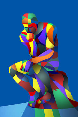 Digital Art - Randy's Rodin Blue by Randall Henrie