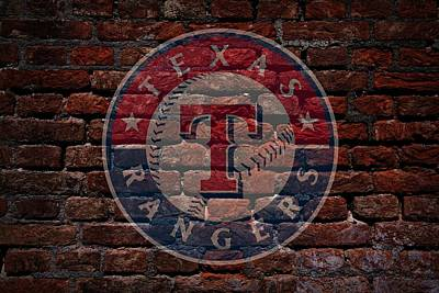 Cabin Wall Photograph - Rangers Baseball Graffiti On Brick  by Movie Poster Prints