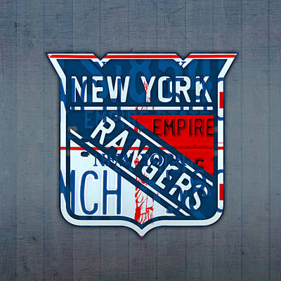 Hockey Mixed Media - Rangers Original Six Hockey Team Retro Logo Vintage Recycled New York License Plate Art by Design Turnpike