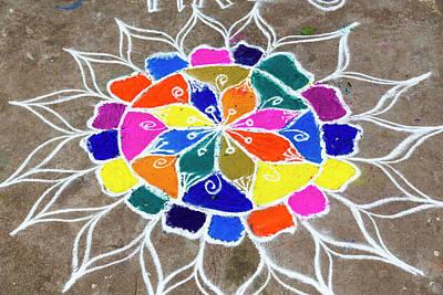 Sacred Artwork Photograph - Rangoli Design Or Kollam Or Muggu by Peter Adams