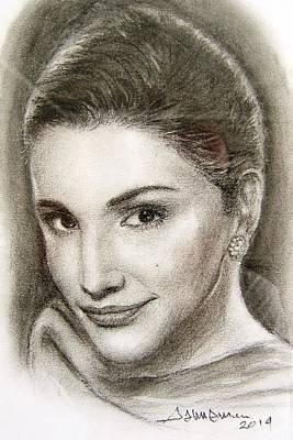 Jordan Drawing - Rania by Salman Ameer