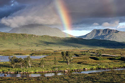 Scottish Landscape Photograph - Rannoch Moor Rainbow by Grant Glendinning