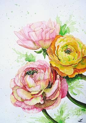 Ranunculus Painting - Ranunculus Flowers by Zaira Dzhaubaeva