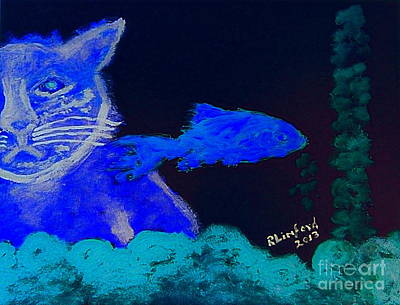 Painting - Rapacious Blue Cat Complacent Bluefish 2 by Richard W Linford