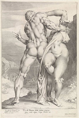 Rear View Drawing - Rape Of A Sabine Woman, Rear View by Jan Harmensz. Muller And Adriaen De Vries And Louis Renard