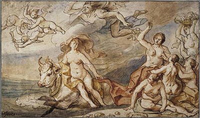 Seacoast Drawing - Rape Of Europa by Jacob Jordaens