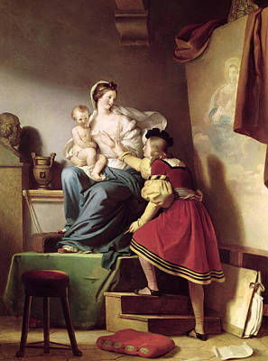 Raphael Adjusting His Model's Pose For His Painting Of The Virgin And Child  Print by Alexandre Evariste Fragonard