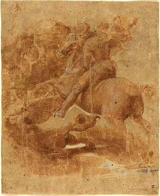 Incised Drawing - Raphael Italian, 1483 - 1520, Saint George And The Dragon by Quint Lox