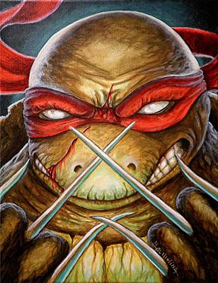 Teenage Mutant Ninja Turtles Painting - Raphael Unleashed  by Al  Molina