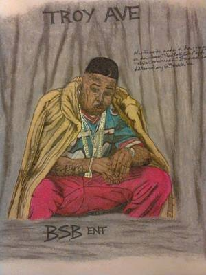Painting - Rapper Troy Ave by Brandon Crawford
