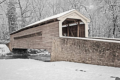 Photograph - Rapps Bridge In Winter by Michael Porchik