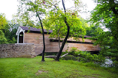 Rapps Covered Bridge Over French Creek Print by Bill Cannon