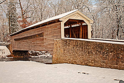 Photograph - Rapps Snow Covered Bridge by Michael Porchik