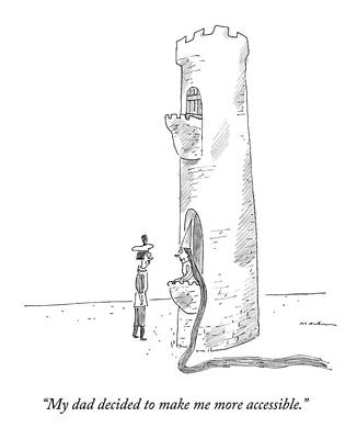 Single Drawing - Rapunzel Speaks To A Man From The Ground-floor by Michael Maslin