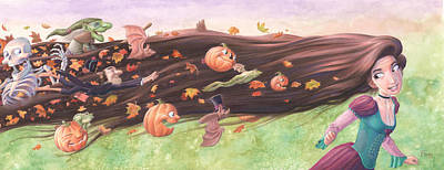 Painting - Rapunzel's Halloween by Richard Moore