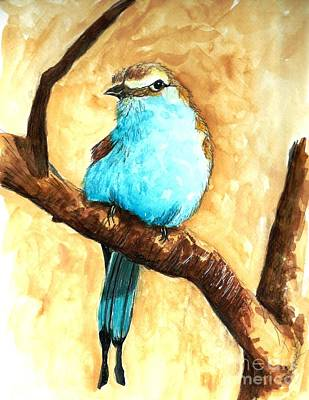 Raquet-tailed Roller Art Print by Jeanne Grant