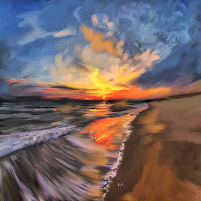 Fish-eye Look Painting - Rare California Sunset by Angela A Stanton