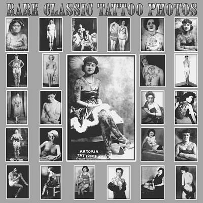 Old School Tattoos Digital Art - Rare Vintage Tattoo Photograph Poster by Larry Mora