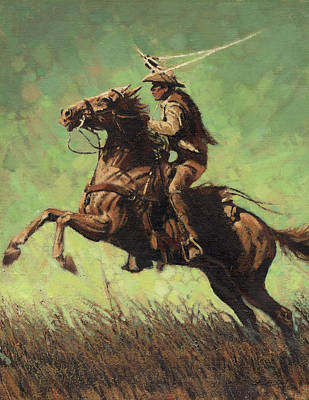 Lassoing Painting - Roping Raring Horse by Don  Langeneckert