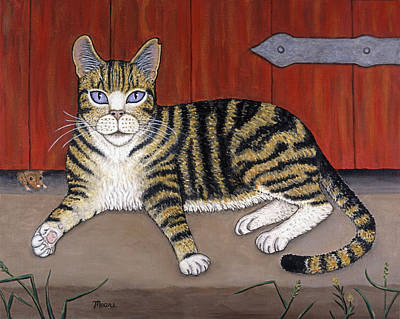 Kittens Painting - Rascal The Cat by Linda Mears
