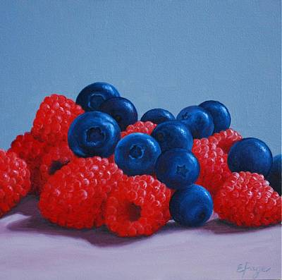 Hyperrealism Painting - Raspberries And Blueberries by Emily Page