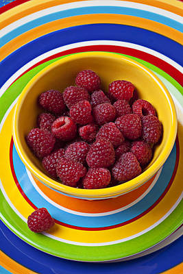 Platter Photograph - Raspberries In Yellow Bowl On Plate by Garry Gay