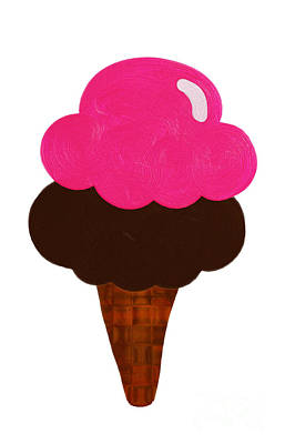 Raspberry And Chocolate Ice Cream Cone  Art Print by Andee Design