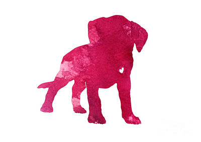 Boxer Abstract Art Painting - Raspberry Boxer Puppy Silhouette by Joanna Szmerdt