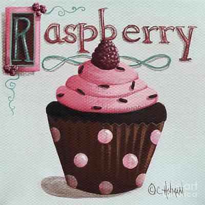 Raspberry Painting - Raspberry Chocolate Cupcake by Catherine Holman