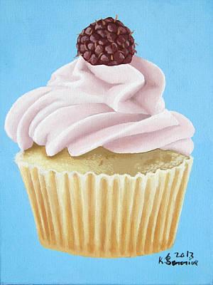 Raspberry Cupcake Art Print by Kayleigh Semeniuk