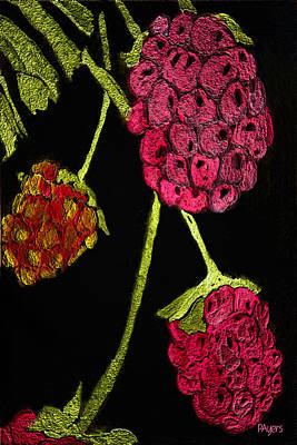 Art Print featuring the painting Raspberry Fabric by Paula Ayers