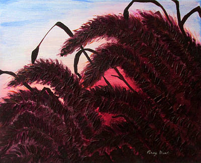 Painting - Raspberry Sunset Original Ornamental Grass Fine Art Print By Penny Hunt by Penny Hunt