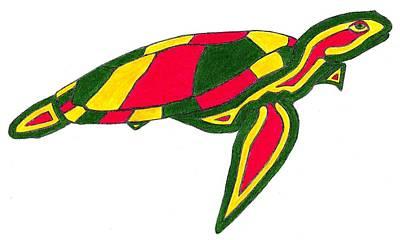 Brett Smith Drawing - Rasta Sea Turtle by Brett Smith