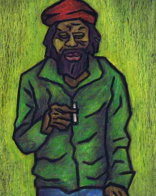Bob Marley Abstract Painting - Rastafarian by Kamil Swiatek