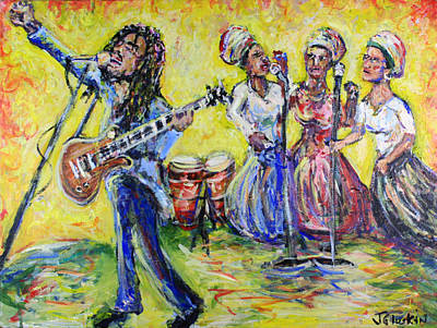 Rastaman Vibration - Bob Marley And The I-threes Art Print by Jason Gluskin