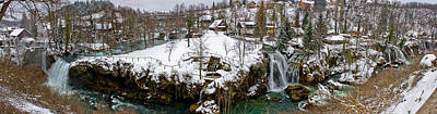 Photograph - Rastoke Waterfalls Winter Panorama Croatia by Brch Photography