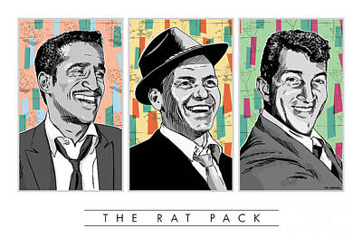 Frank Sinatra Digital Art - Rat Pack Pop Art by Jim Zahniser