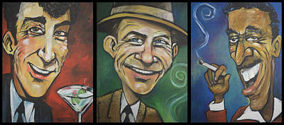 Martini Painting Royalty Free Images - Rat Pack Triptych Royalty-Free Image by Tim Nyberg